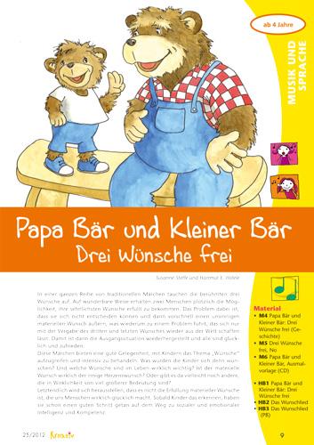 Märchen Erleben - Kreativ in Kiga und Vorschule 25 - Papa Bär und Kleiner Bär