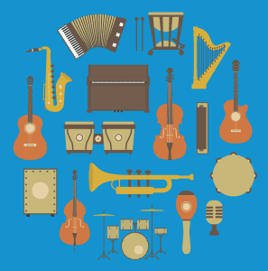 viele Instrumente auf blauem Hintergrund
